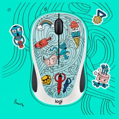 Logitech M238 DOODLE BEE BEE BLUE Wireless Mouse