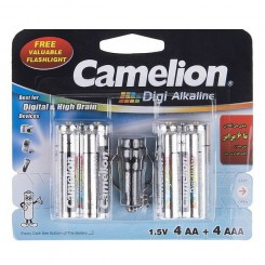 Camelion Digi Alkaline Battery Pack Of 8 With Free Flashlight