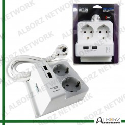 K-Net Plus KP-PS04 Power Strip With USB (SPD) - White