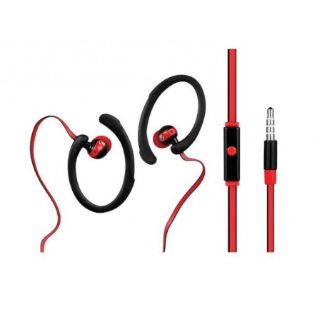 Volkano High Performance Sports Series Earphones with Mic Black & Red