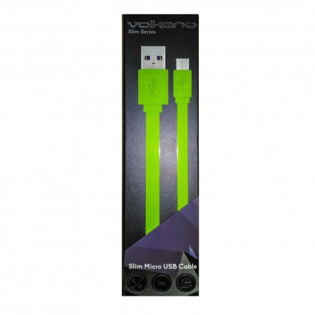 Volkano Micro Usb Cable Slim Series-CAB343-LG-Lime